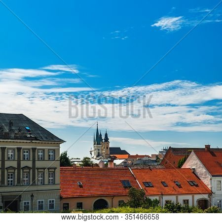City Nitra, Slovakia. View Of Town Hall, Old City And Red Roofs. Tourist Destination