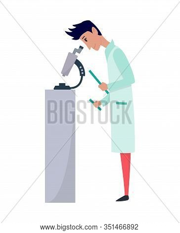 Young Scientists Characters In Laboratory. Doctor Research In A Laboratory Lab. Professor Look In Mi