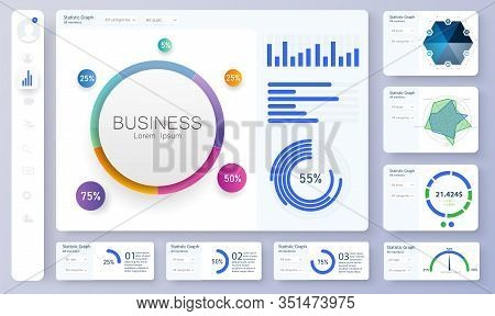 Dashboard, Great Design For Any Site Purposes. Informative And Simple Dashboard. Colorful Infographi
