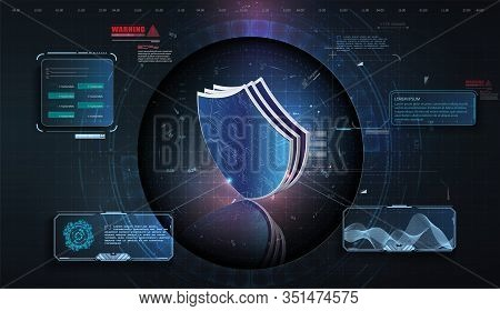 Hud Ui. Abstract Virtual Graphic Touch User Interface. Cyber Security Concept Shield With Icon On Di