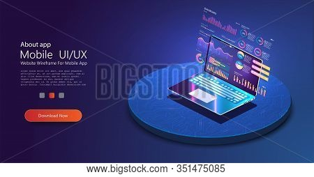 Application Of Laptop With Business Graph And Analytics Data. Business Statistics Charts, Diagrams V