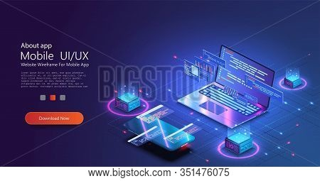 Programming And Software Development Web Page Banner, Program Code On Screen Device. Software Develo