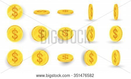 Sprite Sheet Of Gold Dollar Coins Rotation. Coin With Shadow Turn Around, 2d Animation For Game And