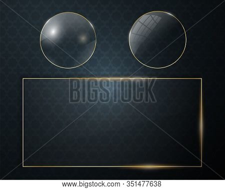 Glass Plate On Transparent Background. Acrylic And Glass Texture With Glares And Light. Clear Glass