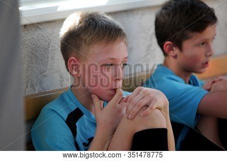 Odessa, Ukraine- Febr 17, 2020: Little Boys, Children Play Mini Football In Sports Hall At Sports Ci
