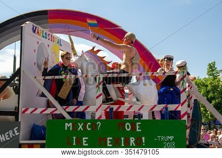 Lund, Sweden - May 19, 2018: A Float With Political Messages Related To Donald Trump, Vladimir Putin
