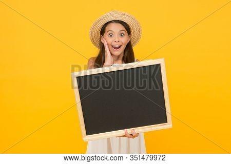 Advertising For Beginners. Surprised Girl Hold School Blackboard. Advertising For Private School. Ad