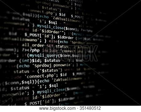 Black Unique Background. Programming Php On Laptop Computer Screen. Program Code Php Html Css Of Sit