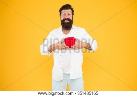 Generous Lover. Love Symbol. From Sincere Heart. Love You. Being Honest. Romantic Guy With Red Heart