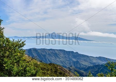 Wonderful Views Of The Island Of Tenerife And The Teide From The Viewpoint Of The Laja In The Haze O