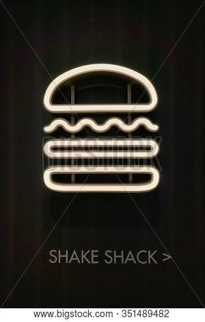 HONG KONG, CHINA - JANUARY 22, 2019: close up shot of Shake Shack sign seen at IFC mall in Hong Kong. Shake Shack is an American fast casual restaurant chain based in New York City.
