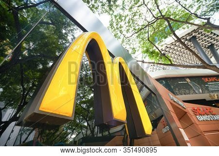 SINGAPORE - JANUARY 19, 2020: The Golden Arches sign seen at McDonald's restaurant in Singapore.
