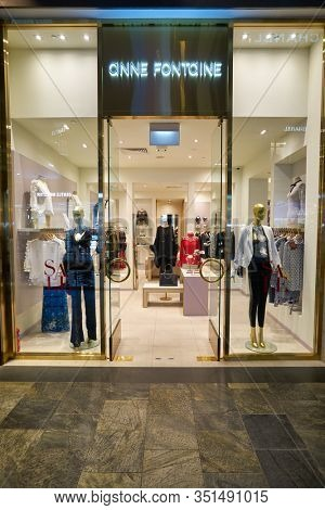 SINGAPORE - JANUARY 20, 2020: entrance to Anne Fontaine store at the Shoppes at Marina Bay Sands in Singapore