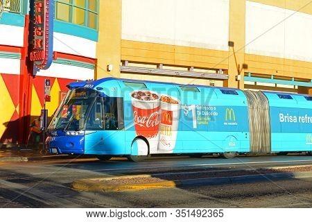 Las Vegas - Dec 26, 2015: Iveco Irisbus Civis Rtc Transit Bus On Las Vegas Blvd At Fremont Street In