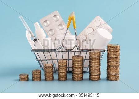 Stacks Of Coins In A Row Ascending, Shopping Basket Filled Medicinal Tabletsand Pills On Background,