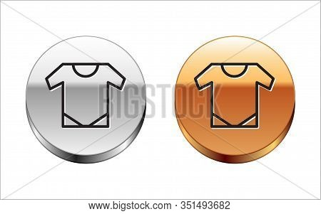 Black Line Baby Onesie Icon Isolated On White Background. Baby Clothes Symbol. Kid Wear Sign. Silver