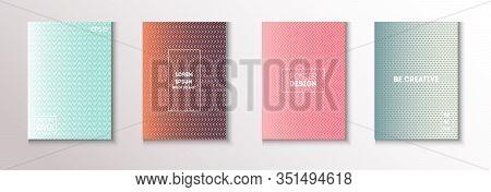 Wavy Minimal Cover Vector Set. Glam Magazine Page. Pattern Gradient Overlay Business Folder. Modern