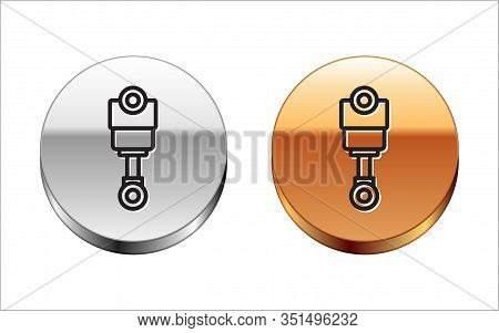 Black Line Engine Piston Icon Isolated On White Background. Car Engine Piston Sign. Silver-gold Circ