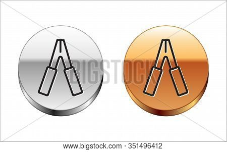 Black Line Car Battery Jumper Power Cable Icon Isolated On White Background. Silver-gold Circle Butt