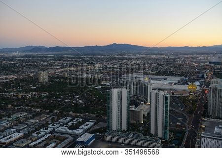 Las Vegas - Dec 26, 2015: Westgate Las Vegas Aerial View At Sunset From Top Of The Stratosphere Towe