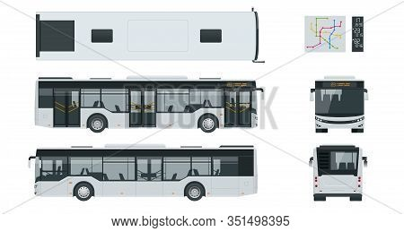 Passenger City Bus For Branding Identity And Advertising Design On Transport. Blank City Bus Side Vi