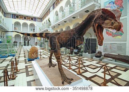 Warsaw, Poland - September 15, 2008: Model Of Dilophosaurus Wetherilli Dinosaur In Geological Museum
