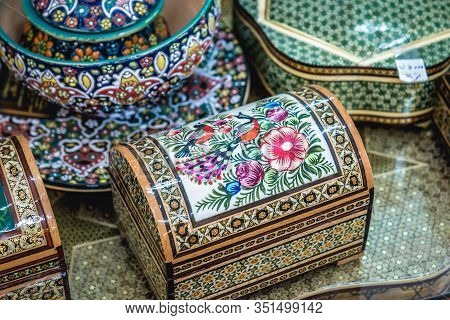 Shiraz, Iran - October 23, 2016: Cose Up On A Decorated Wooden And Ivory Boxes In Souvenir Shop In S