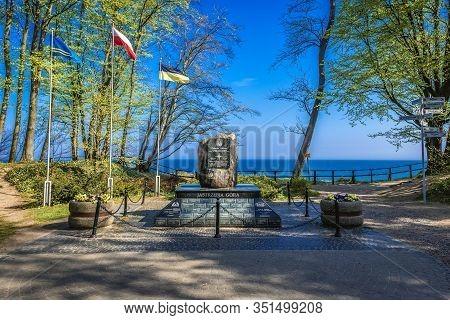Jastrzebia Gora, Poland - May 15, 2017: Northernmost Point Of Poland  On The Cliff In Jastrzebia Gor