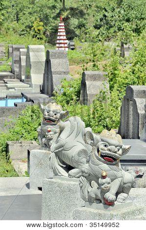 Chinese cemetery scene