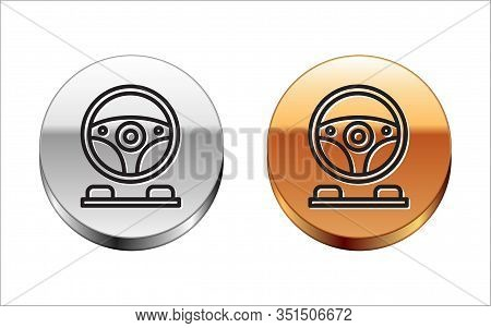 Black Line Racing Simulator Cockpit Icon Isolated On White Background. Gaming Accessory. Gadget For
