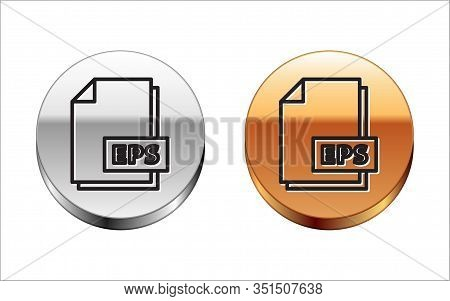 Black Line Eps File Document. Download Eps Button Icon Isolated On White Background. Eps File Symbol