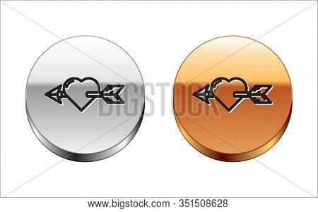 Black Line Amour Symbol With Heart And Arrow Icon Isolated On White Background. Love Sign. Valentine