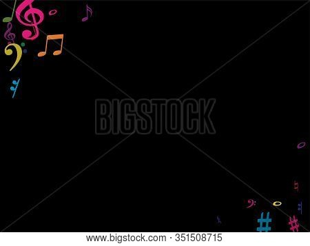 Color Flying Musical Notes Isolated On White Background. Fun Musical Notation Symphony Signs, Notes