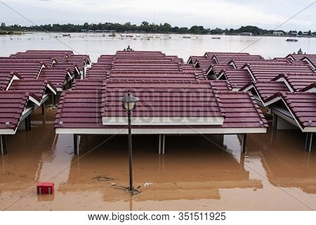 Vientiane City Laos Monsoon Flooded Damage Catastrophe Muddy