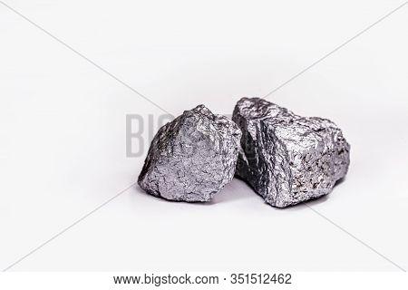 Big Big Silver Nugget On Black Background. Raw Silver Stone, Silver Nugget Native To Liberia, Isolat