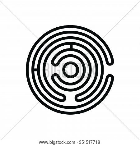 Black Line Icon For Labyrinth Way-out Puzzle Maze Complication Imbroglio Intricacy Meander Twist