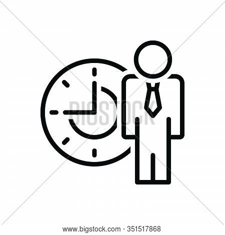 Black Line Icon For People-time Management Delay Schedule Patience Waiting