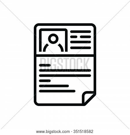 Black Line Icon For Resume Document Profile Unemployment Application Summary Detail Expansion Elabor