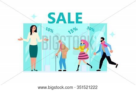 Welcome To Store Concept With Friendly Woman Seller. Male And Female Customers Run For Purchases, Th