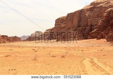 Wadi Rum Desert Panorama With Dunes, Mountains And Sand, Jordan