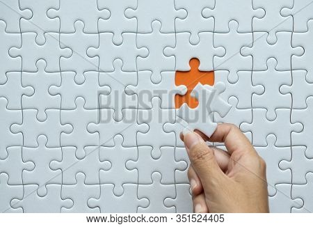 Pieces Of Jigsaw Puzzle In Woman Hands,jigsaw Puzzle White Color,puzzle Pieces Grid,success Mosaic S