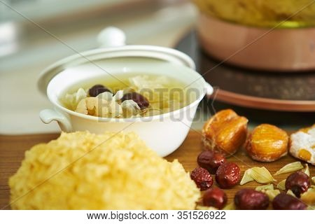 snow jelly fungus chinese traditional medicine with red dates dessert