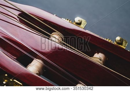 Guitar Headstock Close Up. Acoustic Musical Instrument