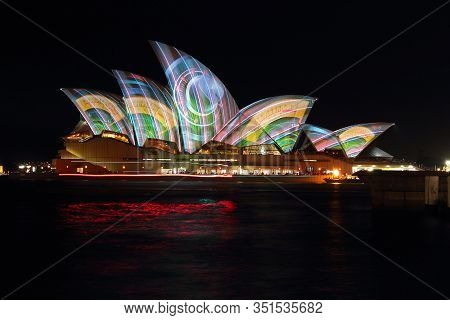 Sydney, Australia - May 28: Sydney Opera House Shown During Vivid Sydney: A Festival Of Light, Music
