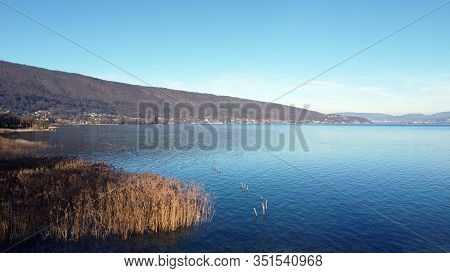 Large View Of Annecy Lake And Mountains From Saint-jorioz Beach, France