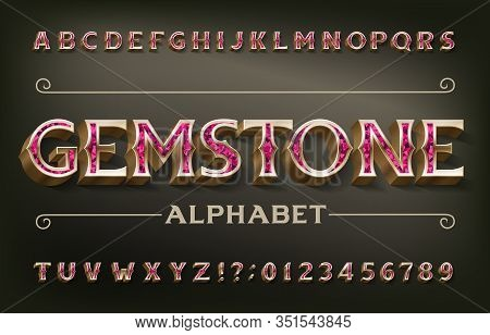 Gemstone Alphabet Font. 3d Golden Metal Letters And Numbers. Stock Vector Typeset For Your Design.