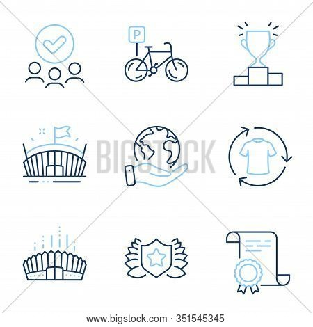 Bicycle Parking, Arena And Change Clothes Line Icons Set. Diploma Certificate, Save Planet, Group Of
