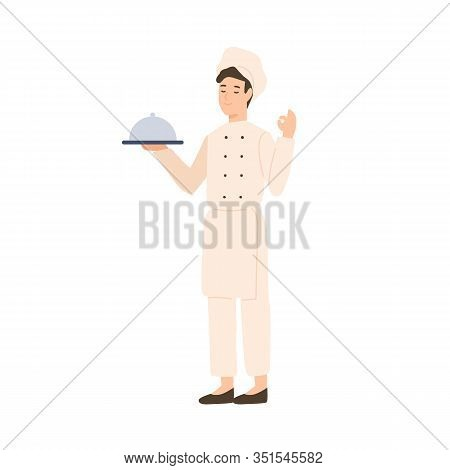 Professional Male Chef Holding Serving Plate Vector Flat Illustration. Happy Kitchener In White Unif