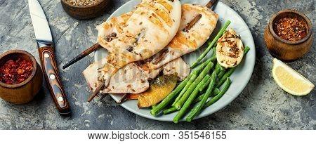Grilled Squid On A Skewer