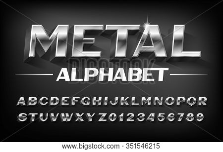 Metal Alphabet Font. 3d Beveled Chrome Letters And Numbers With Shadow. Stock Vector Typescript For